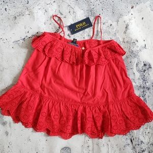 Polo by Ralph Lauren. Eyelet Ruffle Babydoll Top